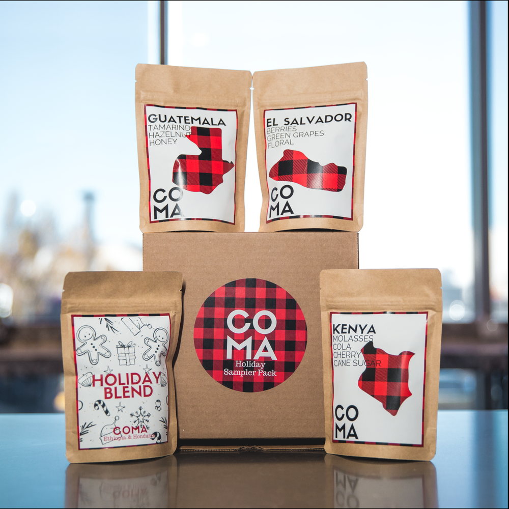 Holiday Sampler Pack - If you can't make up your mind on which coffee to buy, this is a great way to try several! This sampler pack includes three of our single origin coffees plus our Holiday Blend! $25.00