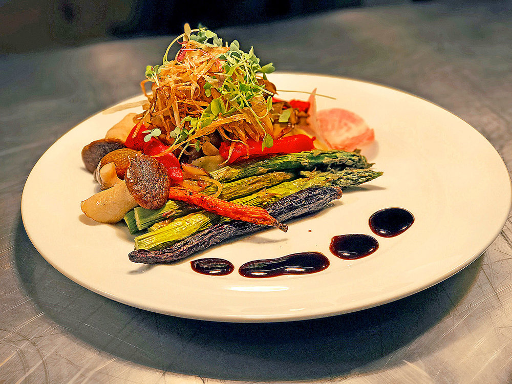 Chef also created a vegetarian entrée of Oyster and Beech Mushrooms with Roasted Red Peppers, Asparagus and Artisan Carved Baby Carrots
