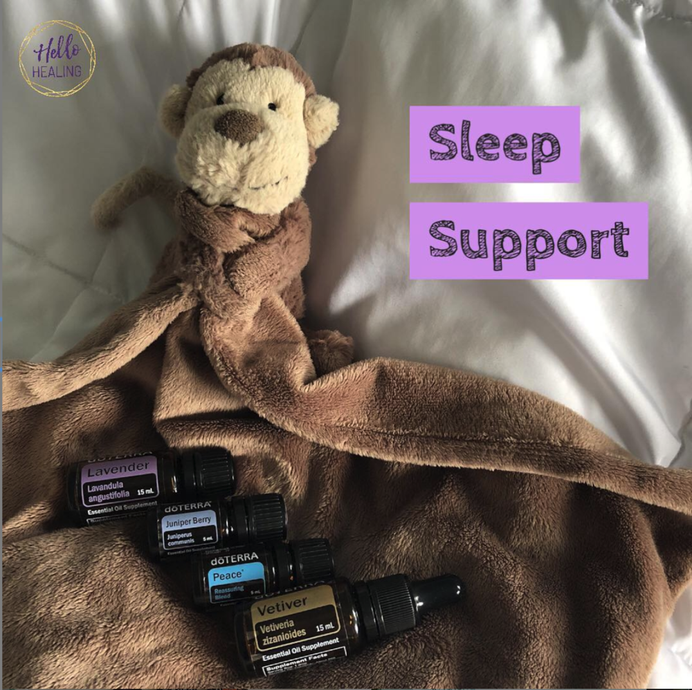 essential oils for sleep: vetiver, juniper berry, lavender, peace blend