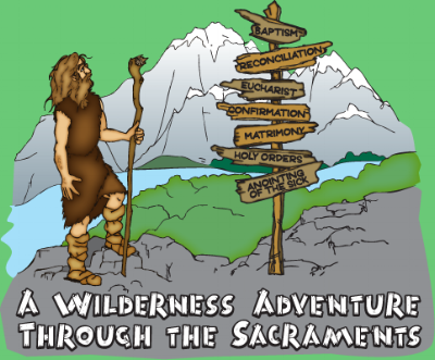 Gear up for a one week hike through the wilderness and lead kids to discover amazing things about Baptism, Eucharist, Confirmation, Reconciliation, Anointing of the Sick, Marriage, and Holy Orders.