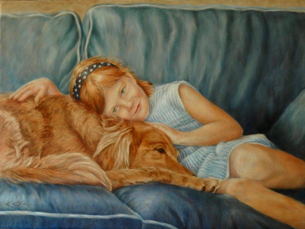 """The Two Redheads""    Gracie & Zeus Duxbury, MA Oil on Belgian linen; 18 x 24″  Collection Geupel  ©2005 Karen Killian"