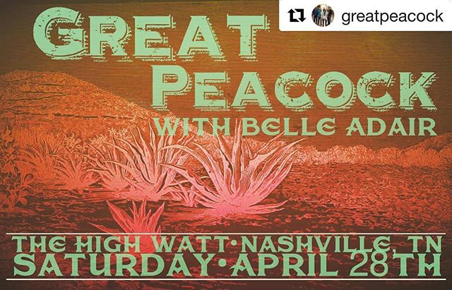 We'll be in Nashville,TN this Saturday night at @thehighwatt with @greatpeacock. We go on at 9. Don't miss it!