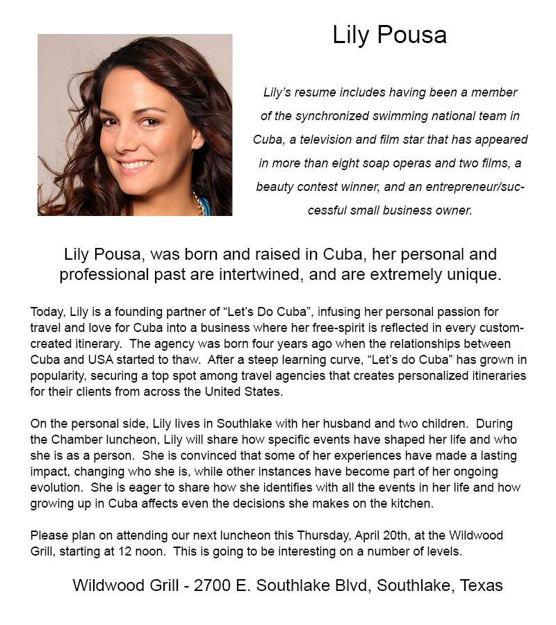 This is a post by  Southlake Chamber of Commerce  official Facebook Page regarding the luncheon where Let's Do Cuba Founder, Lily Pousa would would be speaking.