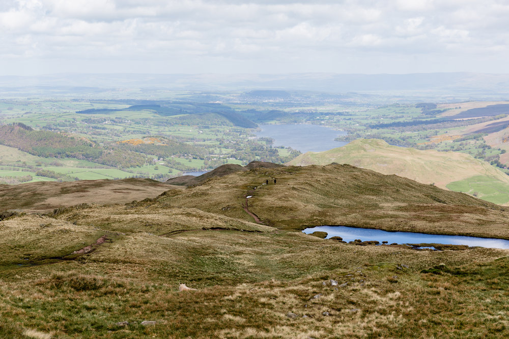 Views of Ullswater from the summit of Place Fell. The distinct path you can see in the centre of this photo is the direct route to the summit (left-hand path).