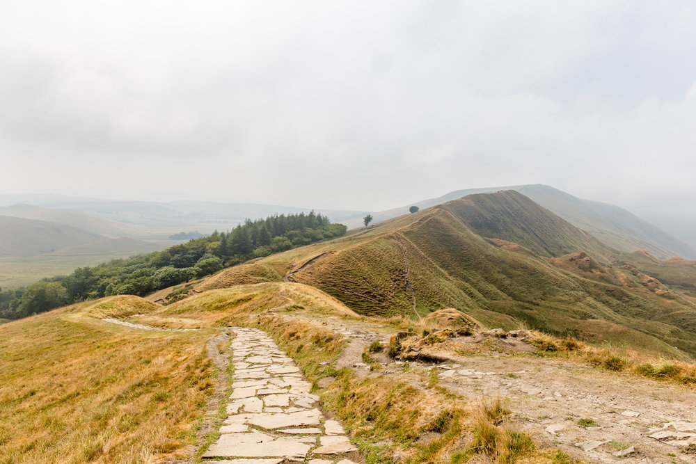 Descending from Mam Tor, looking over to Rushup Edge