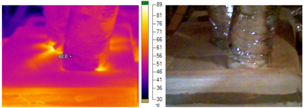 Light areas indicate loss of conditioned air at HVAC ducting.