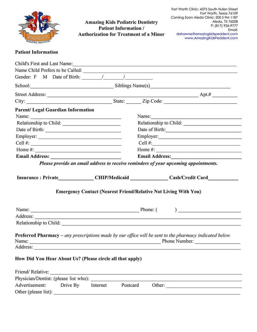Amazing Kids Pediatric Dentistry Patient Form, download and fill on or before appointment.