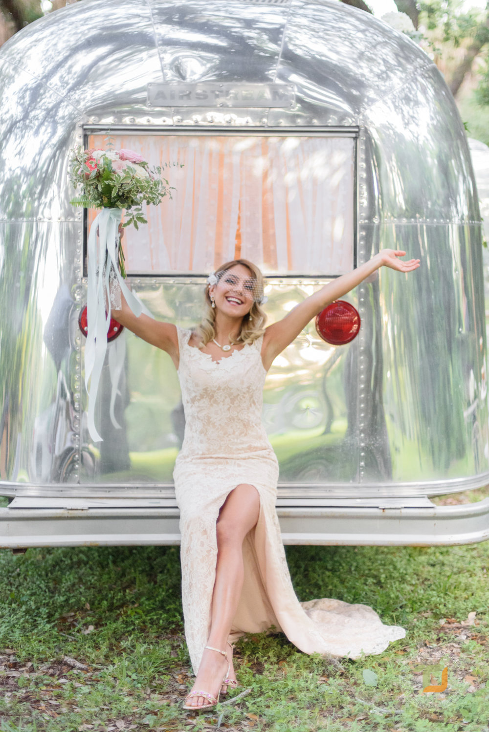 Intimate Airstream  Converting a hitched photo lounge into a mini bridal suite; soft, feminine, and all the while vintage in Snyder Park.