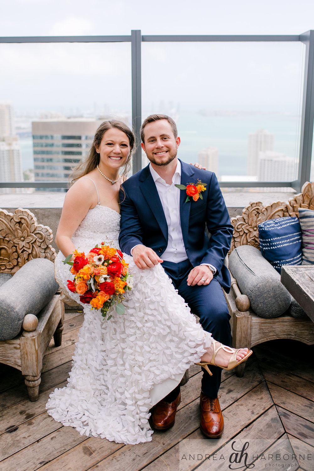 Dana & Alex - On the 40th floor of East, the lush rooftop bar of Sugar was the ceremony and brunch reception for this California-based couple.