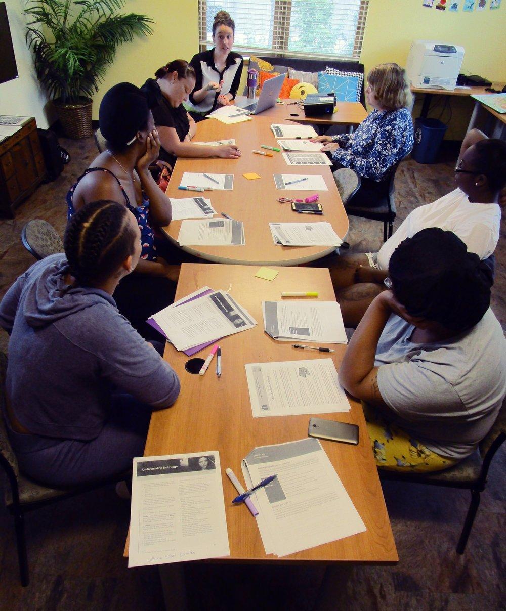 Haven Housing women attending financial literacy class.JPG