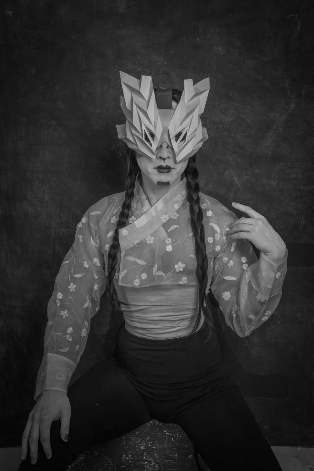 Exhibition - DoYou Memoirs of Promethean Sisters - YOZMIT with mask - photo credit Kyle Kupres.jpg