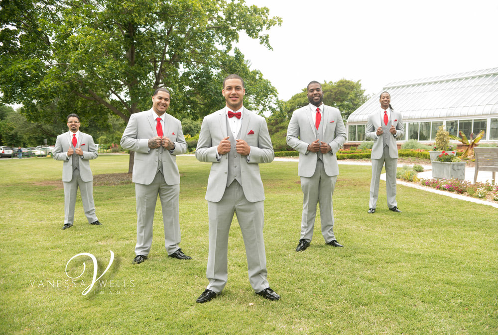 Groom and Groomsmen Wedding Photographer in OKC Will Rogers Garden