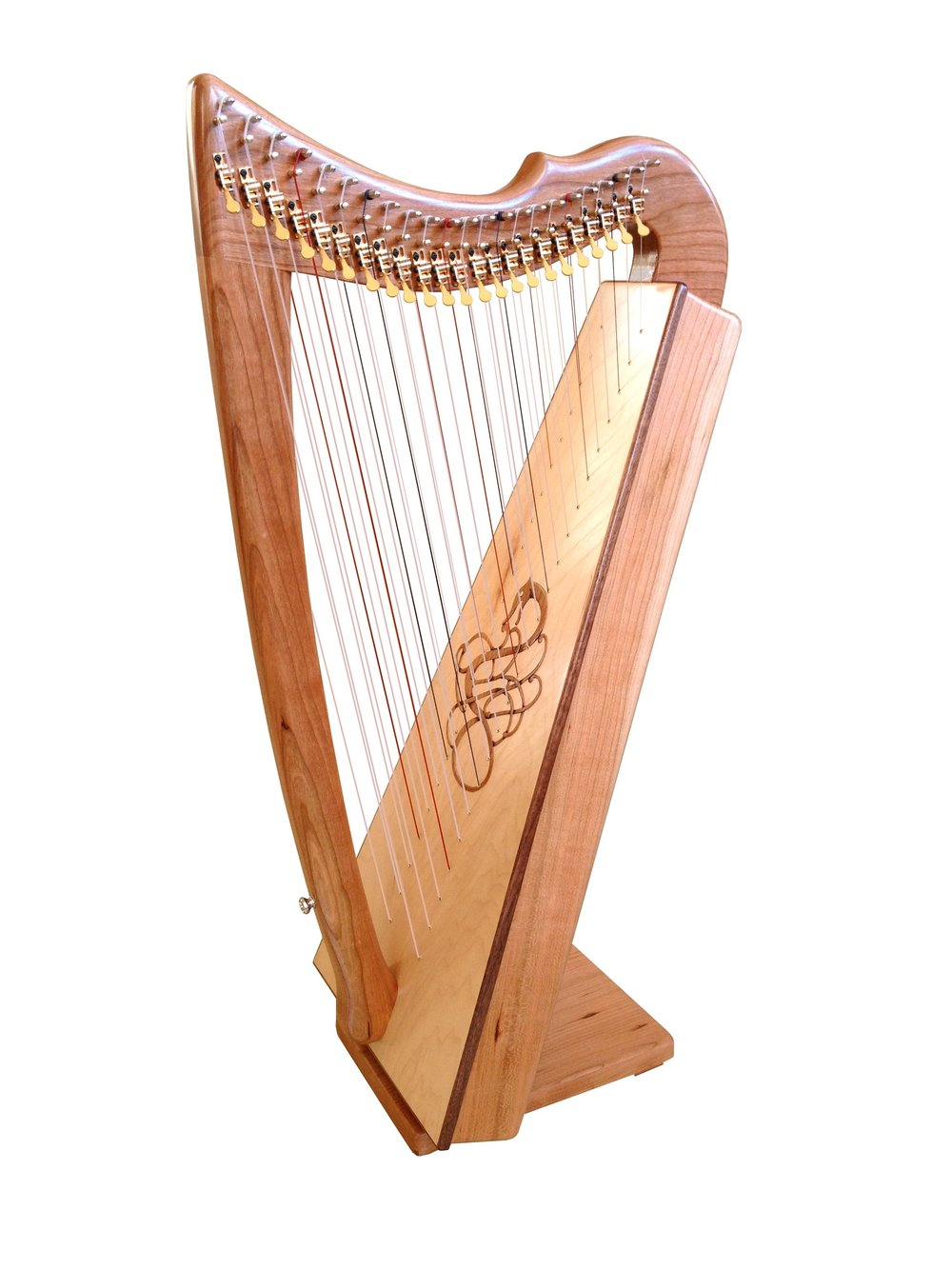 Rees Double Morgan Meadow Concert Line Harp in Cherry with optional Singing Serpent ornamentation in cherry. [Note:  this harp is shown with full Truitt sharping instead of the standard Rees sharping.]