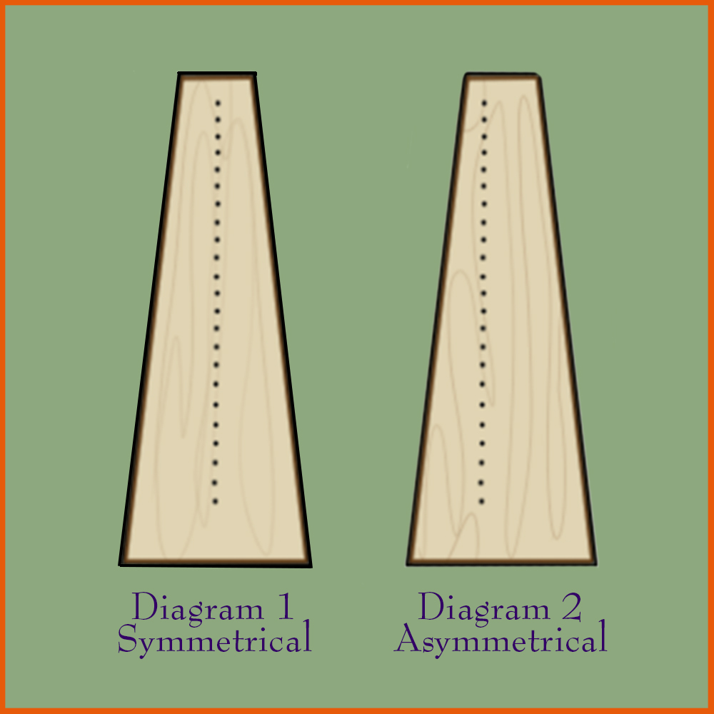 Symmetrical and asymmetrical harp soundboards.
