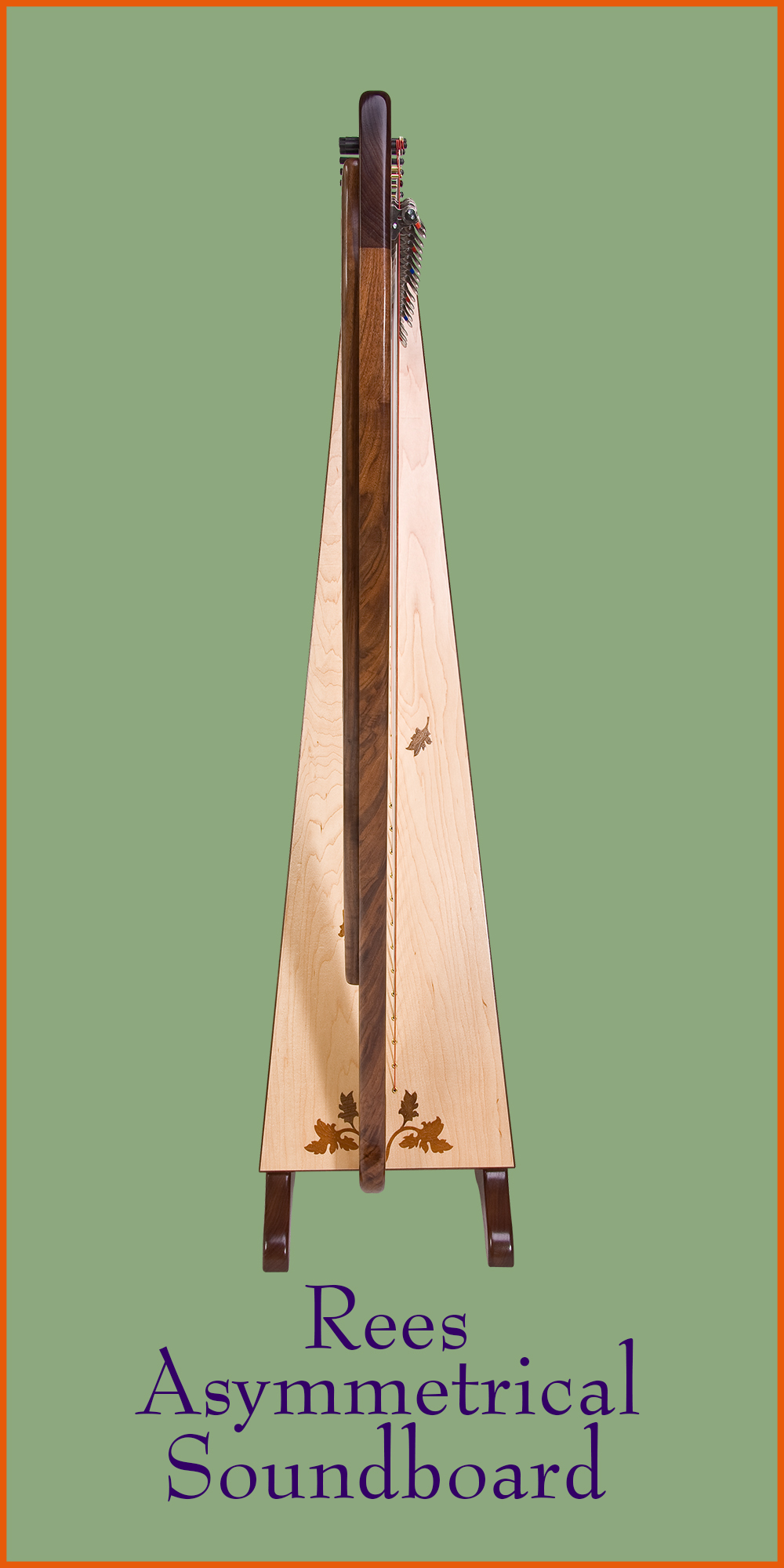 A Rees Aberdeen Meadows Concert Line Harp with an asymmetrical soundboard.