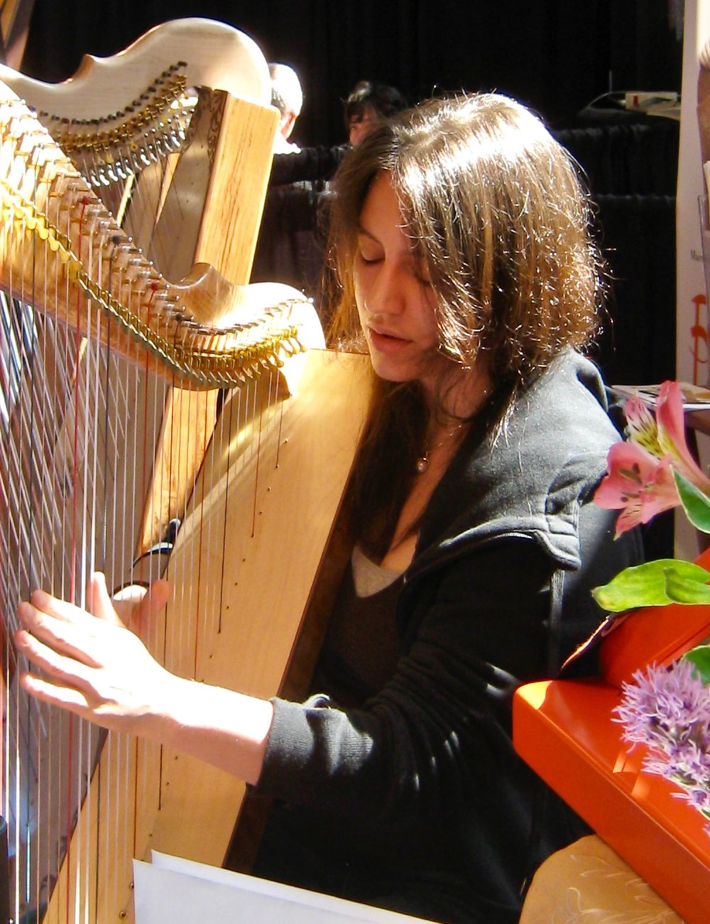 Marta Cook playing a Rees Mariposa Concert Line Harp at the Vancouver World Harp Congress. Marta is  very  pro chocolate.