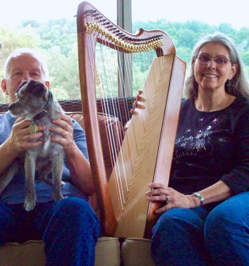 John, Missy and kathleen Brodzik with her Morgan Meghan Harp.