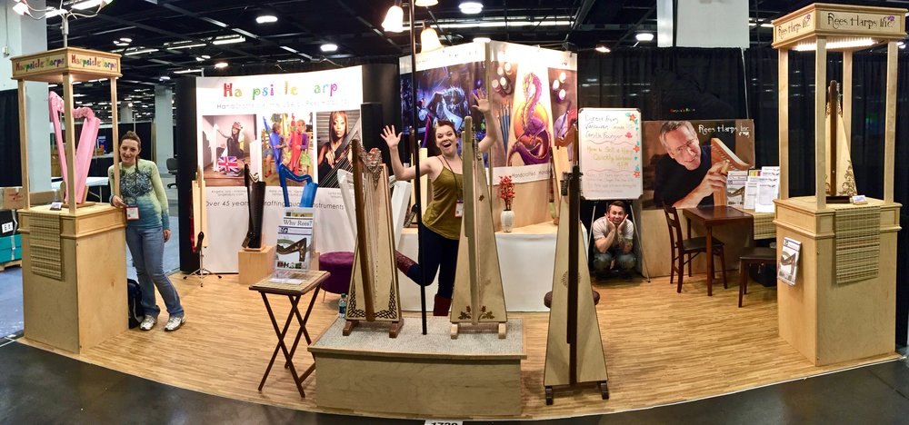 We drag our harps all over creation for harp conferences or, as above, to industry shows like NAMM. All of that transport and handling by prospective customers means we take extra care with the harp finishes.
