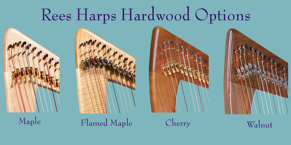 These locally harvested hardwoods can be used either singly or in combination on the arch, pillar, tulip brace and feet of the harp. They are also used on the sides and back of the soundbox.