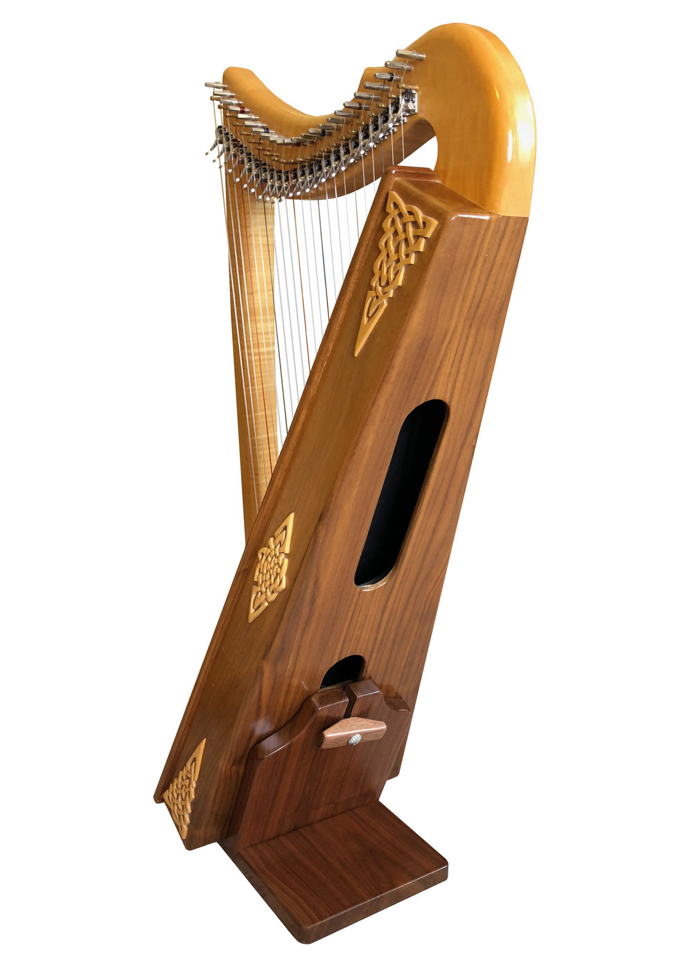 Rees Morgan Meadow in flamed maple and walnut with optional custom ornamentationand full Rees sharping levers. (This is Garen Rees' personal harp.)
