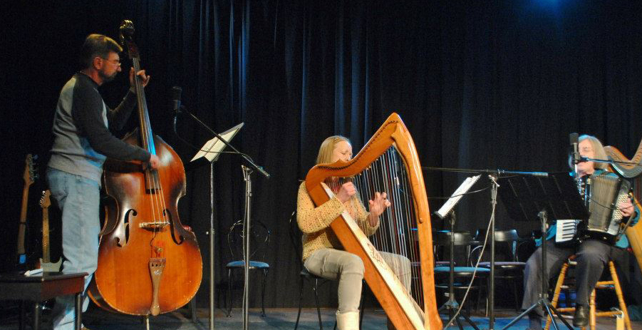 Debra Sawyer performing on stage on a Mariposa harp in cherry wood, Singing Serpent ornamentation and Truitt levers.