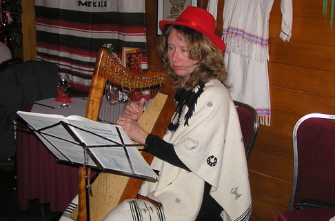 Rebecca Swan with her Rees Morgan Meadow in cherry and optional full Truitt sharping levers performing for a Peruvian gathering.