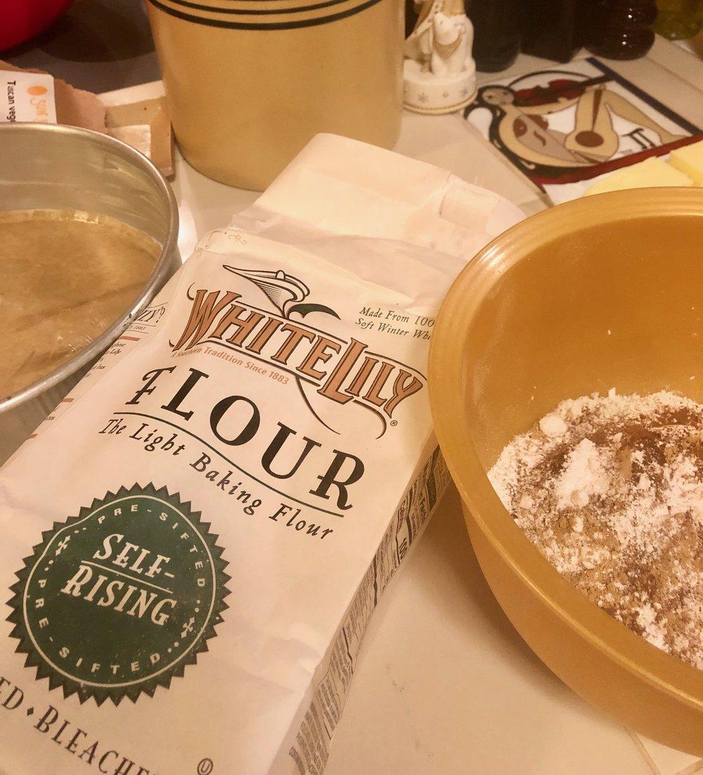 Prepared pan and dry ingredients.