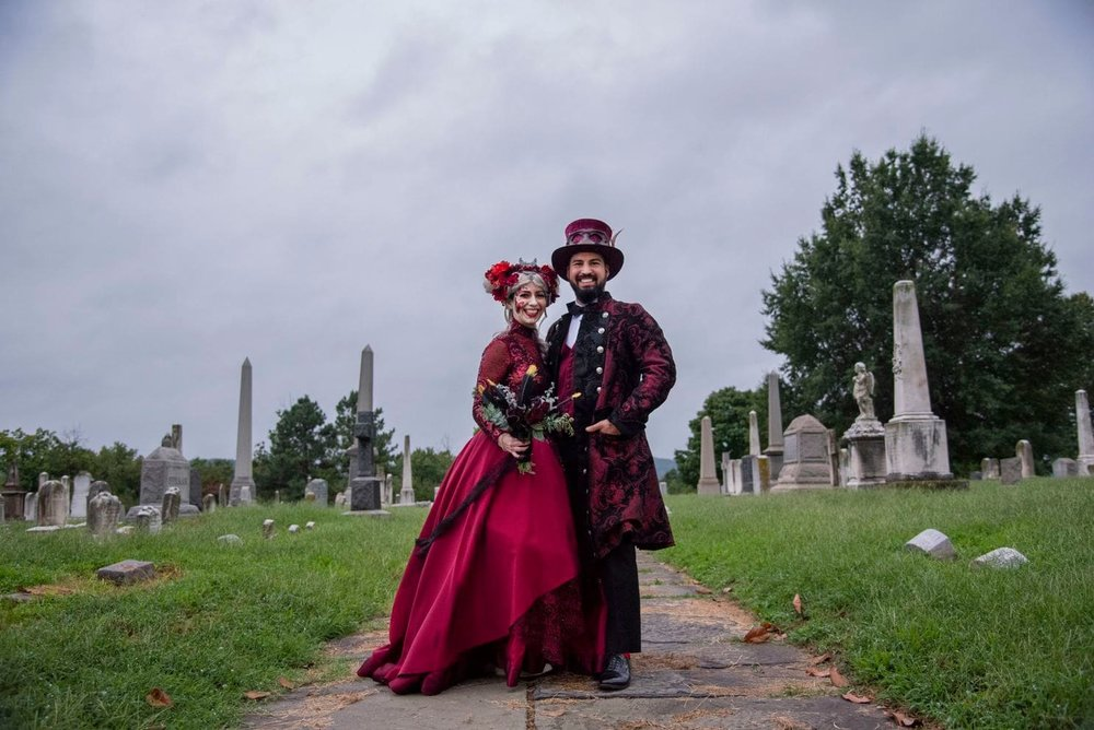 The D.C. couple eloped in New Orleans and then celebrated their new union at the historic cemetery.  Kelly Carnes and Ryan Moore at their voodoo-inspired wedding party at Congressional Cemetery in Washington. (Calla Kessler/The Washington Post)