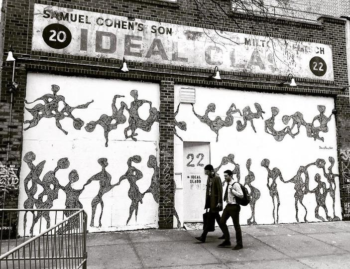 David Paul Kay - David Paul Kay developed his first figurative mural, EAST SIDE ORGY, as an ode to the public intimacy and invisible boundaries of New York City. With dancing figures reminiscent of Henry Matisse, he employs his signature black-and-white style to capture the kinetic energy of our neighborhood.