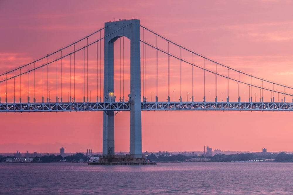Catching the Throgs Neck Bridge during an especially red sunset at the  Bayside Marina.