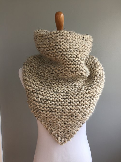 Knit Stockinette Bandana Cowl Pattern Knit Freely