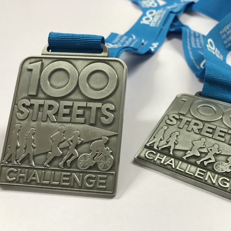 New medals in 2019   Any participant who completes the 100 Streets Challenge and raises or donates a minimum of £10 for Support in Mind Scotland will be presented with one of our shiny new medals!