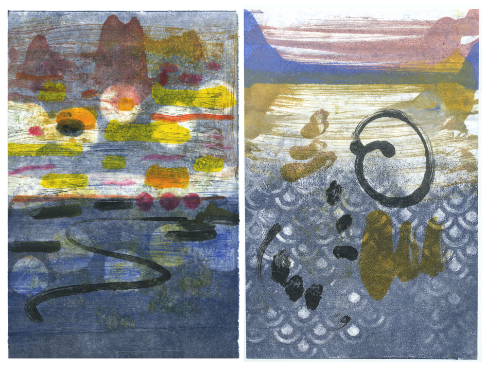 Spirits of the Lake, monotype diptych