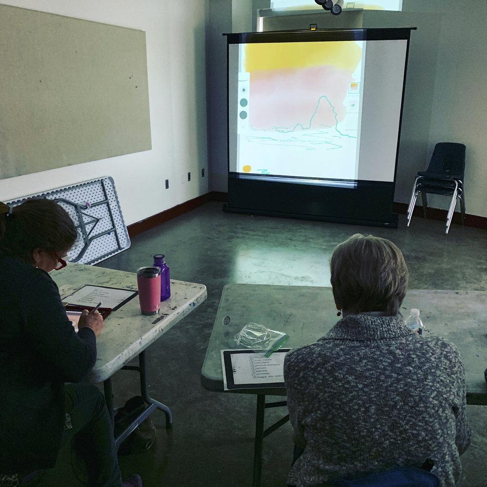 Students at Glen Echo learning iPad sketching