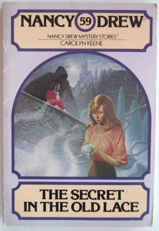The cover for the 1980s-era paperback edition of The Secret in the Old Lace by Carolyn Keene