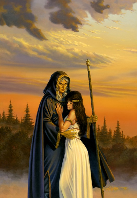 Larry Elmore's painting of Raistlin and Crysania