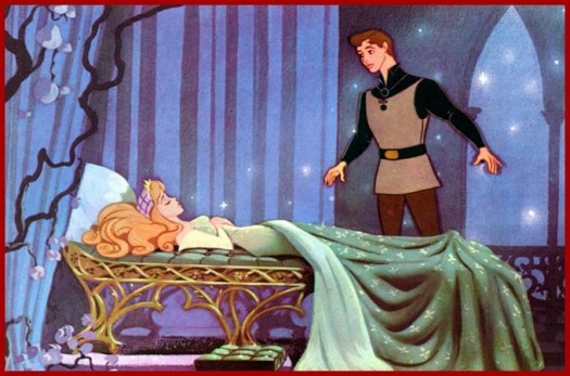 "The image shows a scene from Disney's ""Sleeping Beauty,"" in which Princess Aurora lies asleep waiting for the prince to save her."
