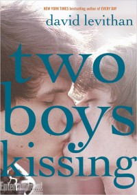Cover for Two Boys Kissing by David Levithan, featuring two boys kissing