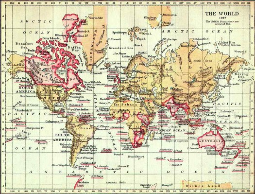 The World in 1897. The British possessions are colored red.