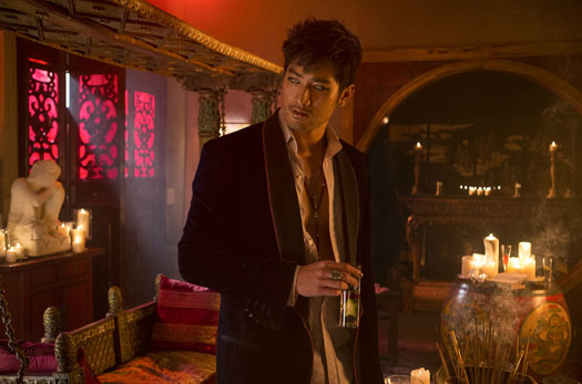 Godfrey Gao as Magnus Bane in the movie version of The Mortal Instruments: City of Bones