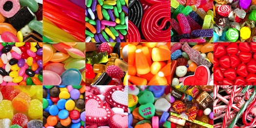 Photos of a bunch of different kinds of candy
