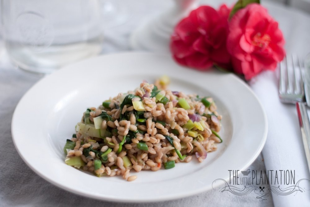 vegan spring pearl barley and spinach risotto - The Little Plantation