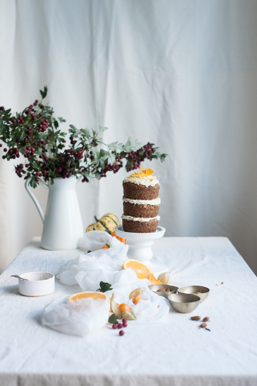 How to make mini vegan pumpkin and orange layer cake with raw almond frosting - The Little Plantation