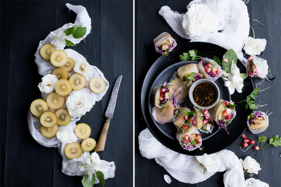 Vegan Wraps with Zespri Sungold Kiwi, tofu and veggies - The Little Plantation