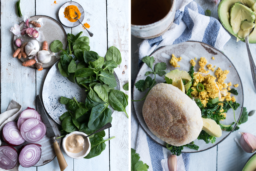Vegan Tofu Scramble with Kale - The Little Plantation