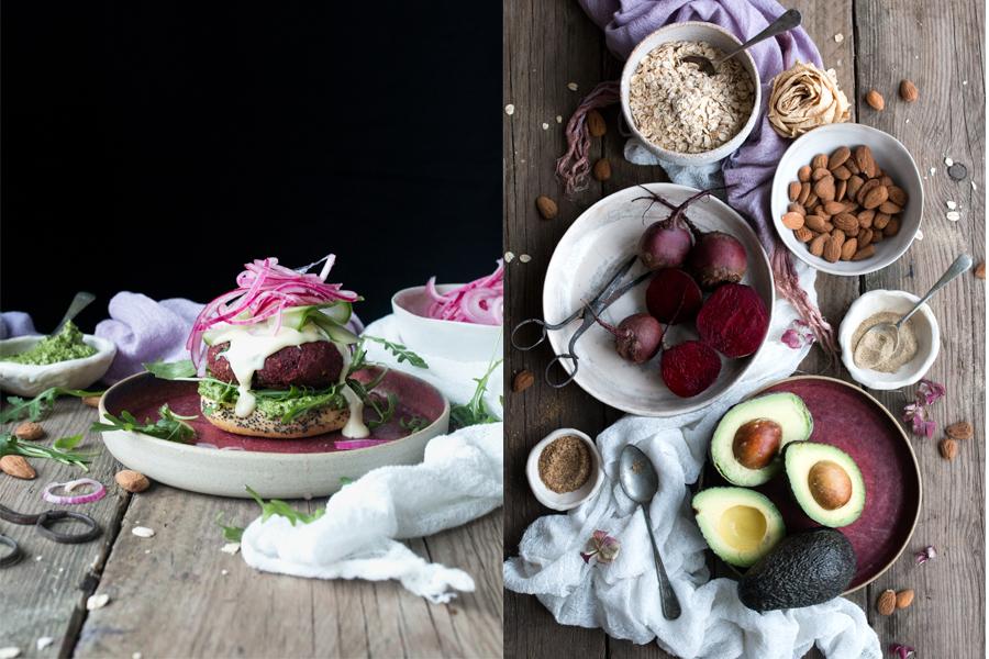 Vegan Beetroot Bean Burgers - The Little Plantation