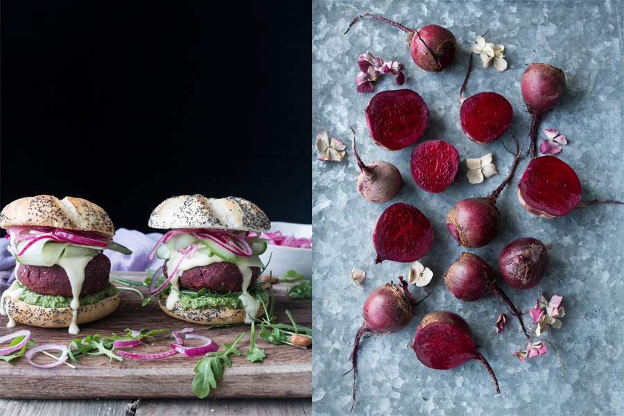 Vegan Beetroot Bean Burgers - The Little Plantation