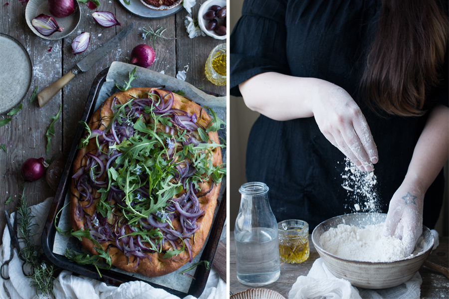 How to make vegan red onion focaccia - The Little Plantation