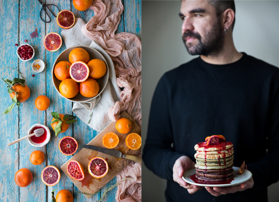 Vegan pancakes with bloog orange syrup recipe - The Little Plantation blog