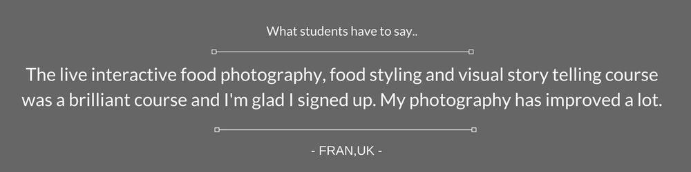 Online food styling and photography classes - Student feedback and testimonials